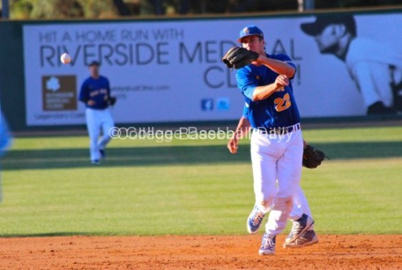 Nick Vilter comes across second base to make a play.