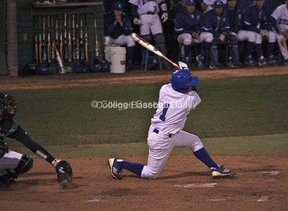 Jake Galloway goes down to one knee as he strikes out