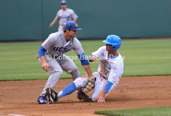 Kevin Kramer is tagged out by Marc Venning after being picked off.