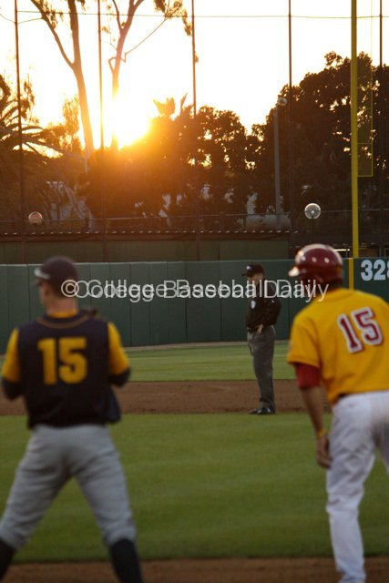 The sun begins to set on Dedeaux Field.