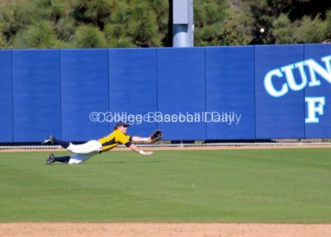 Evan Campbell's dive is well short.