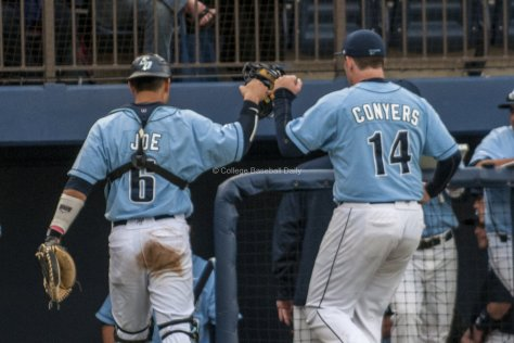 Connor Joe congratulates Pitcher, Troy Conyers