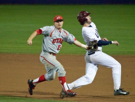 Cory Hunt tags out Tanner Donnels after a pickoff.