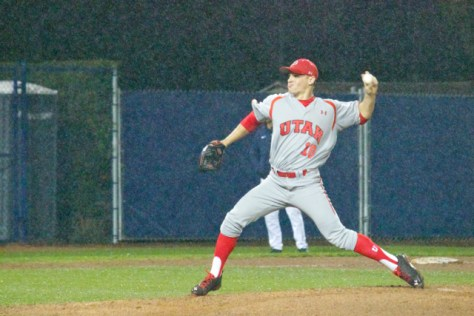 Tanner Banks pitches in the rain.