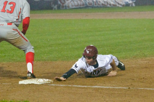 Trent Hammond dives back into first.