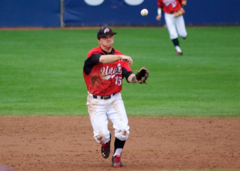 Cory Hunt throws across to first.