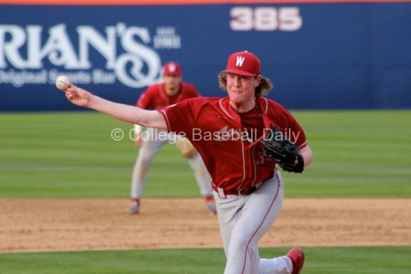 Jacob Schroeder slings a pitch.