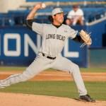 Long Beach State's starting pitcher Chris Mathewson.  Photo By Steve Cheng, BHEphotos