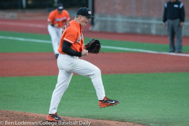 Corvallis, OR - JUNE 4: Drew Rasmussen (25) of the Oregon State Beavers during an 8-1 Oregon State Beavers victory over the Yale Bulldogs in an NCAA Championship Regional Playoff game on June 4, 2017 at Goss Stadium on the campus of Oregon State University in Corvallis, OR (Photo by Ben Ludeman)