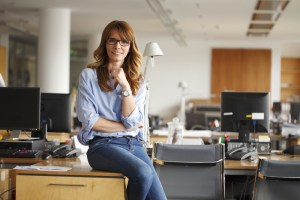 Relaxed woman on desk