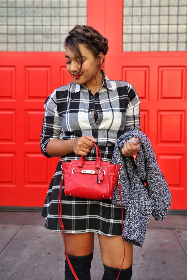 Mad about Plaid ! Fall stying by Color Me Courtney (@colormecourtney) // How to wear plaid for fall #plaid #overthekneeboots #otkboot #patternmixing #blackandwhite