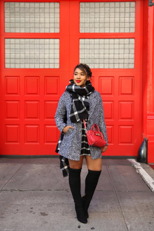 Blanket Scarf Styling! Fall style by Color Me Courtney (@colormecourtney) // How to wear plaid for fall #plaid #overthekneeboots #otkboot #patternmixing #blackandwhite