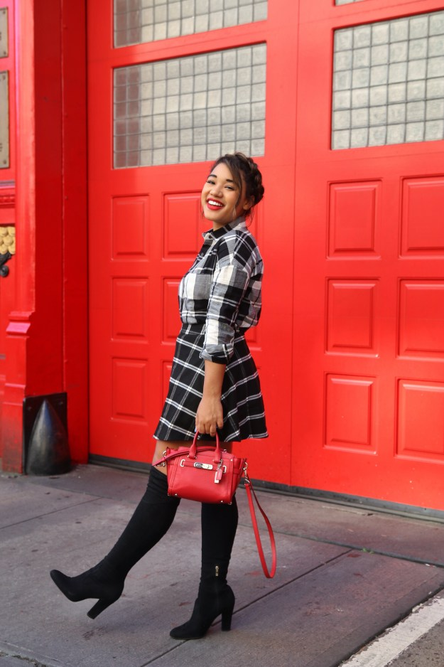 Plaid on Plaid! Fall style by Color Me Courtney (@colormecourtney) // How to wear plaid for fall #plaid #overthekneeboots #otkboot #patternmixing #blackandwhite