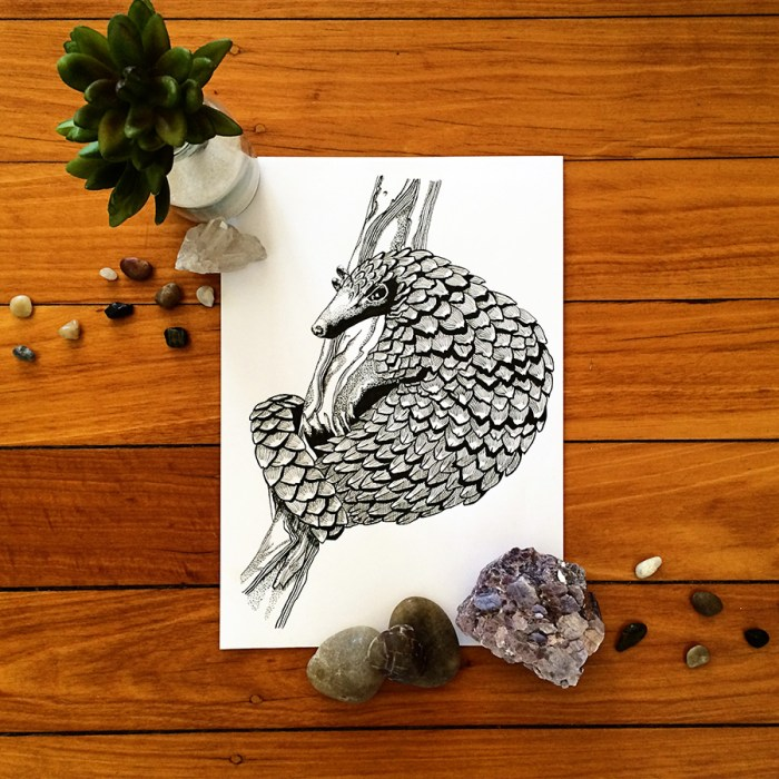 Colour Cult Pangolin illustration by Tegan Swyny. Dot art using technical pens.