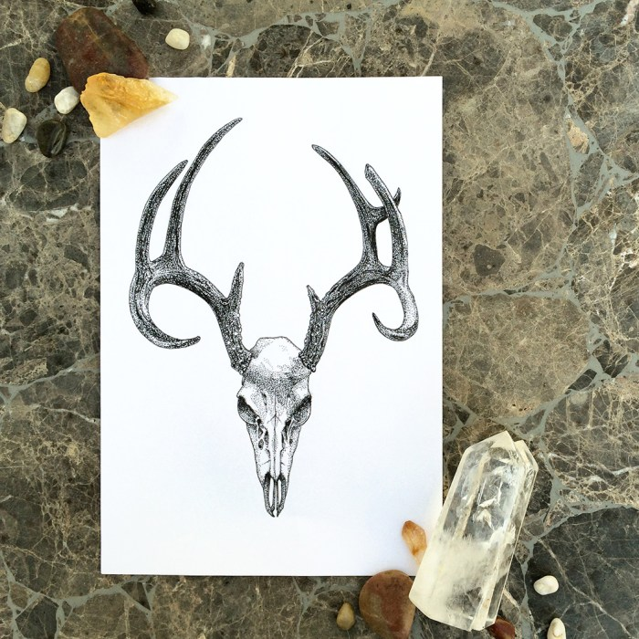Colour Cult animal skull illustration by Tegan Swyny. Dot art using technical pens.