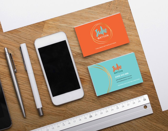 Julie Watson logo and business card design by Tegan Swyny of Colour Cult, Graphic Design Brisbane.