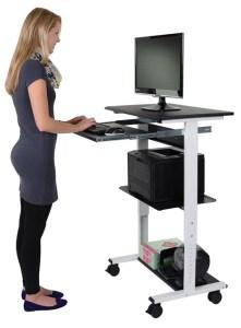 Mobile Adjustable Height Stand Up Workstation