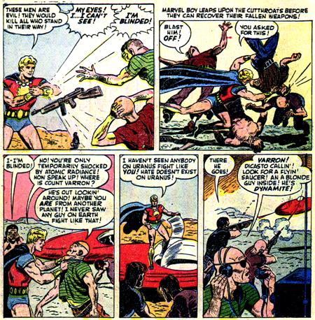 Marvel Boy contre les hommes de Varron.