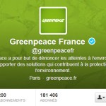 Couverture et Bio Twitter de Greenpeace