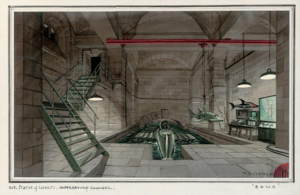Un concept du décors de l'intérieur de la statue de la Liberté pour Warhead (Maurice George Carter)