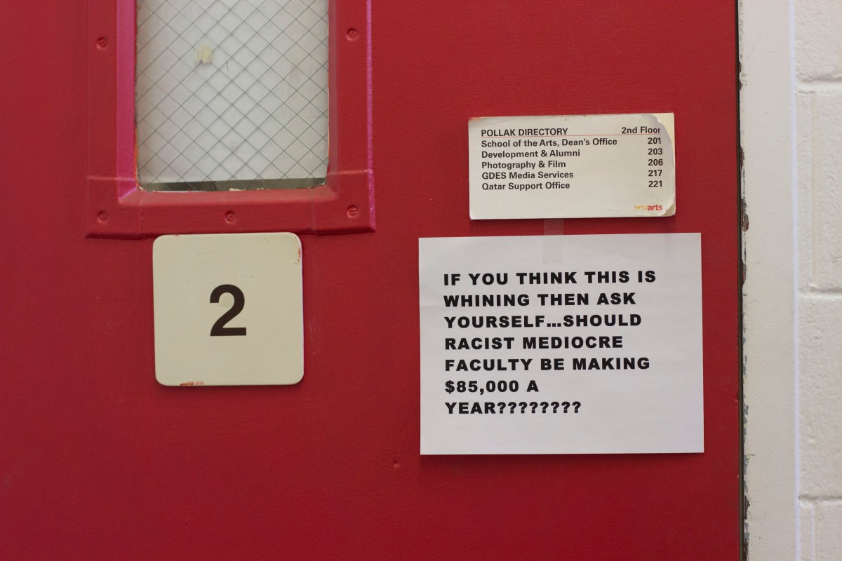 VCUarts fliers tell dean to address racist faculty