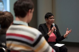 Wanda Mitchell (right), VCU's founding vice president for diversity and equity, addresses a group of VCU community members about engaging students by introducing them to others with differing backgrounds. Photo by Amber-Lynn Taber