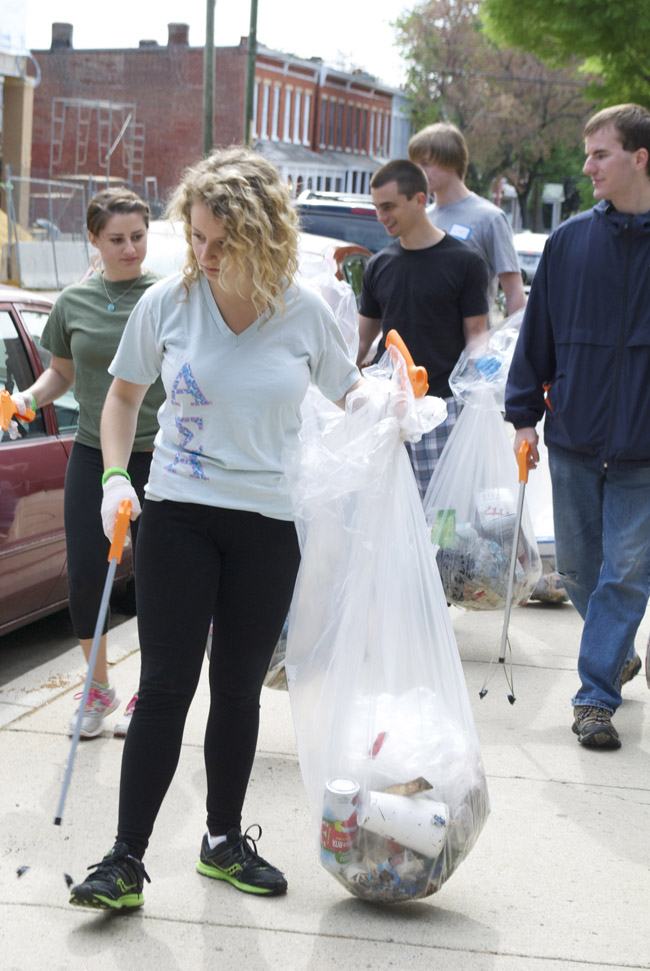 Volunteers at the Paint the Town Green event helped pick up trash from area 