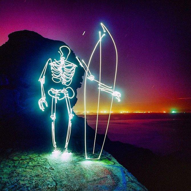 Incríveis desenhos de luz feitos em longa exposição