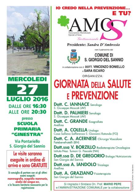 27 luglio: visite mediche gratuite nella giornata della salute e della prevenzione