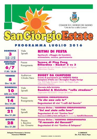 San Giorgio Estate 2016: gli eventi di luglio 2016