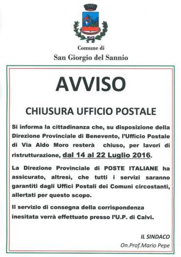 Chiuso per lavori l'ufficio postale di San Giorgio del Sannio dal 14 al 22 luglio