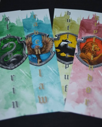 Harry Potter themed bookmarks created as a giveaway item for Rossall's open Day