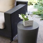 "Concrete Side Table with ""swirls"" concrete vase.  Table can also be used as a stool."