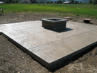Concrete patio with firepit