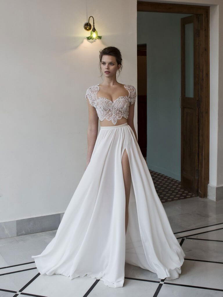 two piece wedding dress bridal separates wedding dress 2 piece Above Style support and seduction combine in this 2 piece bridal gown by Riki Dalal to create the perfect pairing of beaded sparkle on top with soft