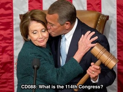 Nancy Pelosi and John Boehner snuggle on inauguration day of the 114th Congress.