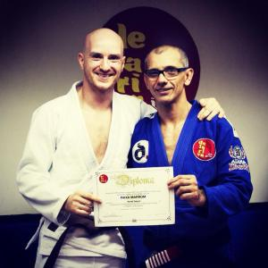 Hywel Teague awarded Brown Belt by De La Riva (photo by Carol Folegatti)