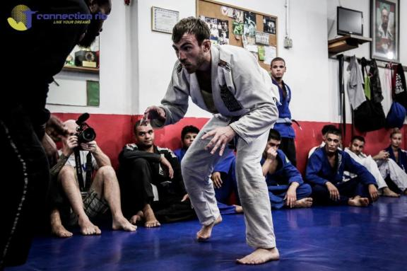 Torryn sparring at one of the many BJJ gyms in Rio, made possible by our academy visits