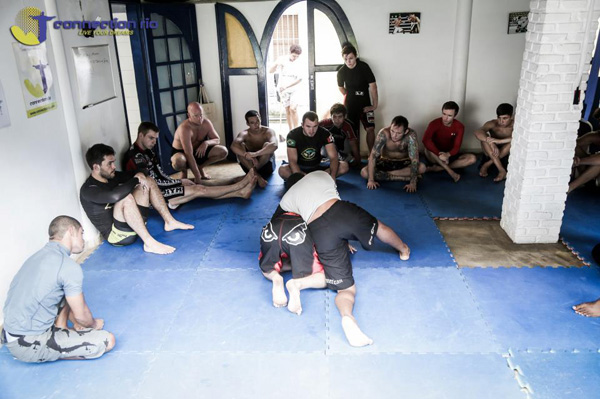 Training with people from around the world inside the Connection Rio house