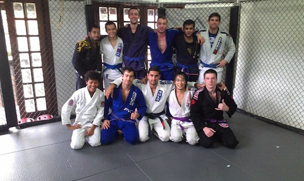 With a few of the guys from the Connection Rio house training with black belt Rafael Simoes