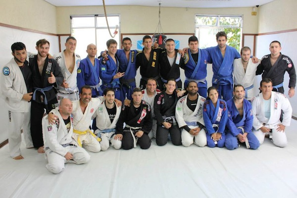 Torryn and the othr blue belts at Leo Santos's seminar at Nova Uniao last month