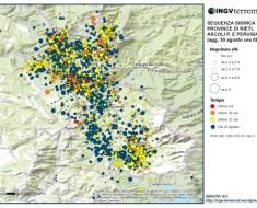 La mappa della sequenza sismica aggiornata al 30 agosto alle ore 08:00