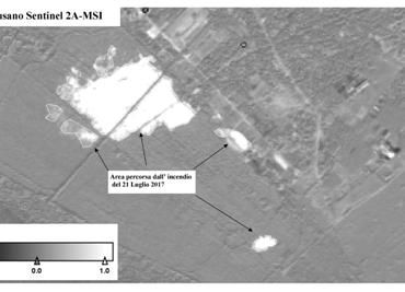 Figura 1 - Indice di differenza di NBR derivato dalle immagini Sentinel2A-MSI antecedente (20 giugno 2017) e successiva (20 luglio 2017) all'incendio iniziato il 17 luglio 2017. Il nero-grigio indica non cambiamento; tonalità di grigio chiarissimo verso il bianco indicano cambiamento. Il perimetro è stato rilevato mediante fotointerpretazione (Contains modified Copernicus Sentinel data [2017]; Landsat 8-OLI courtesy of U.S. Geological Survey; Software used SNAP-ESA, data processing Stefania Amici-INGV)