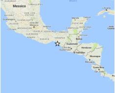 Localizzazione del terremoto di magnitudo 8.0 avvenuto questa mattina, 8 settembre 2017 alle ore 6:49 italiane, al largo delle coste pacifiche del Messico.