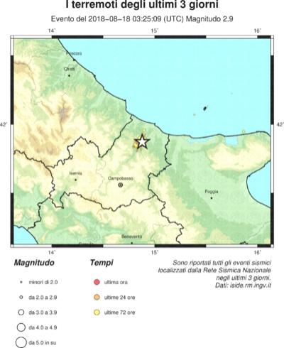 Sequenza sismica Montecilfone, situazione ultimi tre giorni