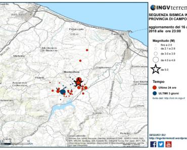 Sismicità dal 13 al 16 agosto (ore 23:00). In rosso gli eventi sismici delle ultime 24 ore. Si noti come l'epicentro del terremoto delle ore 22:22 sia molto vicino a quello delle ore 20.19.