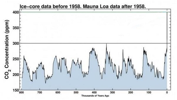 Variazione della CO2 analizzando le bollicine di aria fossile intrappolate nelle carote di ghiaccio antartico: in 800.000 anni non ha mai superato le 300ppm, attualmente siamo a 400ppm, (progetto EPICA).