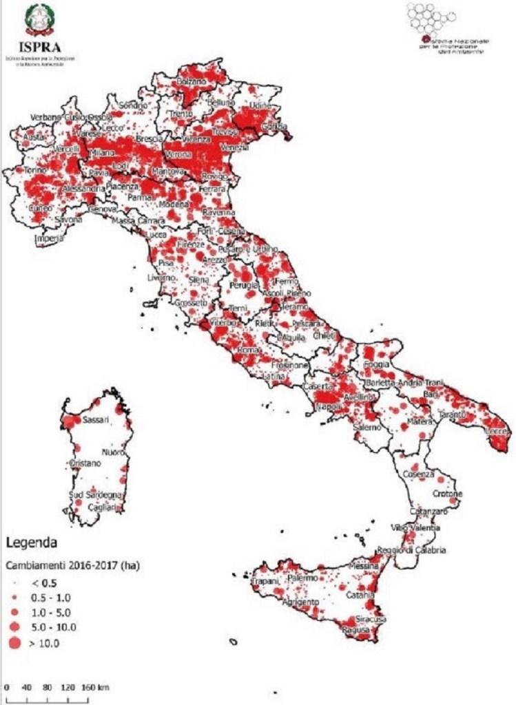 Localizzazione dei principali cambiamenti dovuti al nuovo consumo di suolo tra il 2016 e il 2017. (Fonte: elaborazioni ISPRA su cartografia SNPA, 2018).
