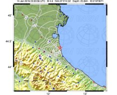 Mappa di scuotimento: accelerazione sisma del 15 gennaio 2019