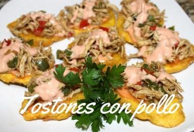 Receta: Tostones con Pollo y salsa mayo-ketchup